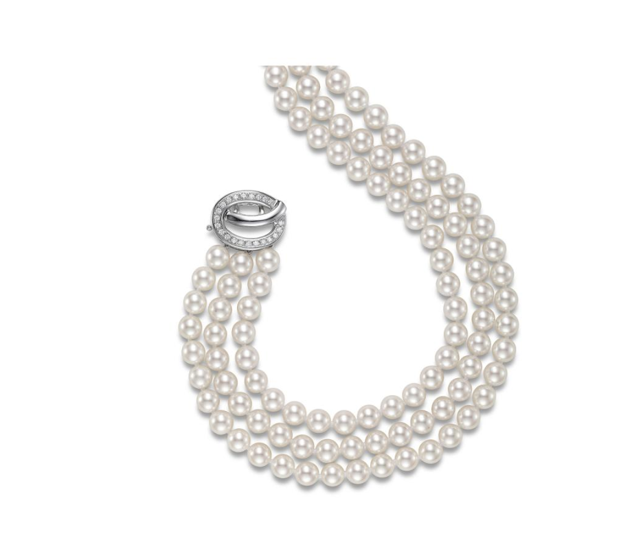 Three Row Pearl Strand Necklace
