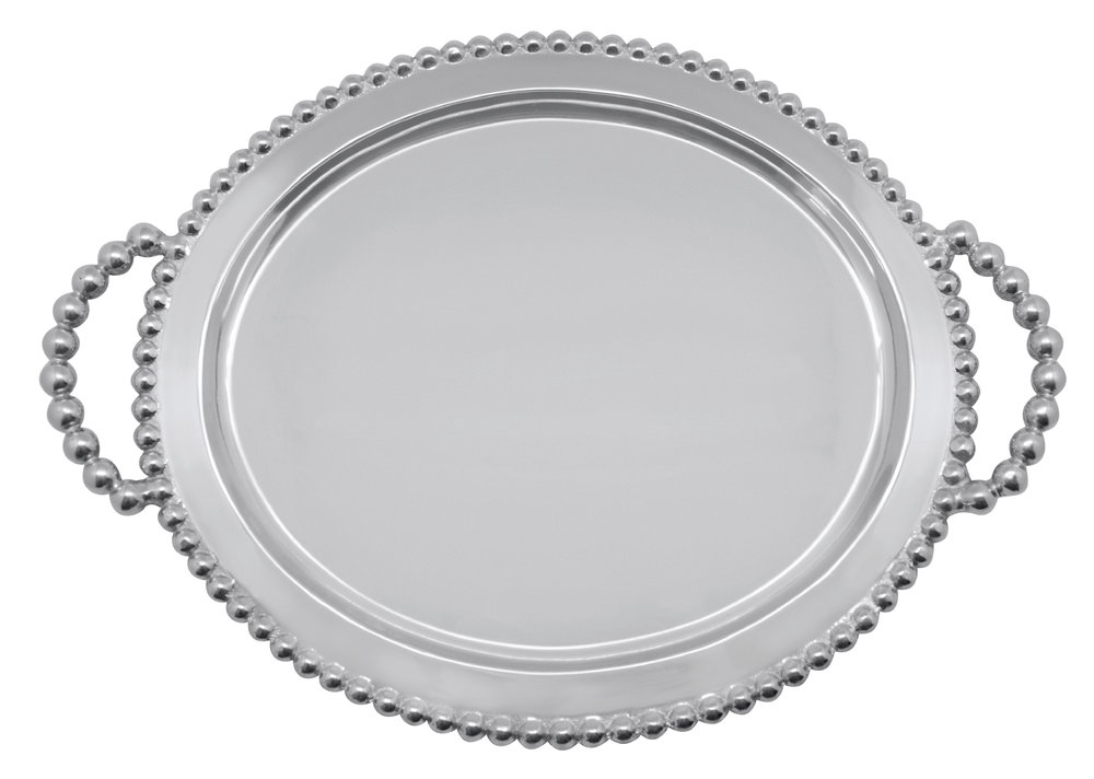Pearled Oval Service Tray