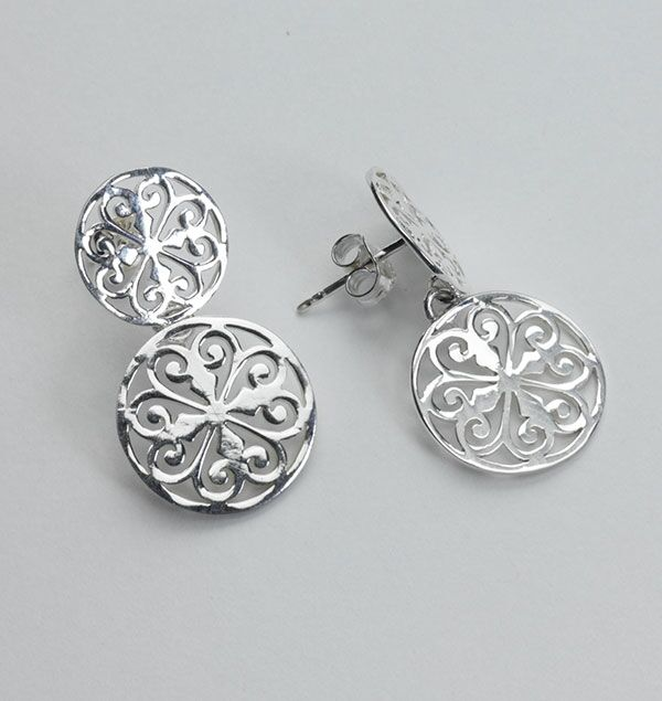 Southern Gates Double Heart Scroll Post Earrings