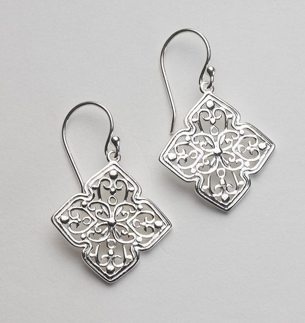 Southern Gates Four Petal Scroll Earrings