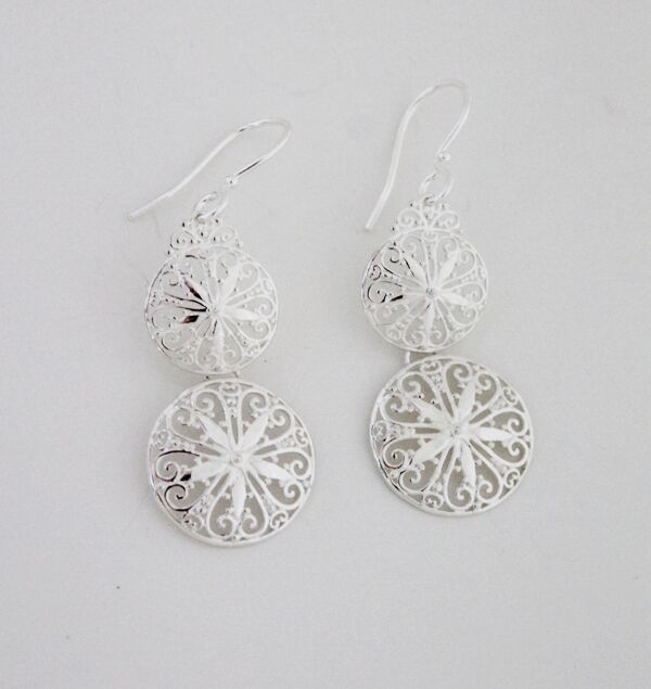 Southern Gates Double Drop Flower Scroll Earrings