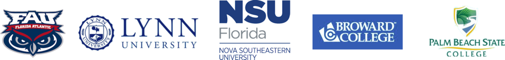 Logos of FAU, Lynn, NSU, Broward College, and PBSC