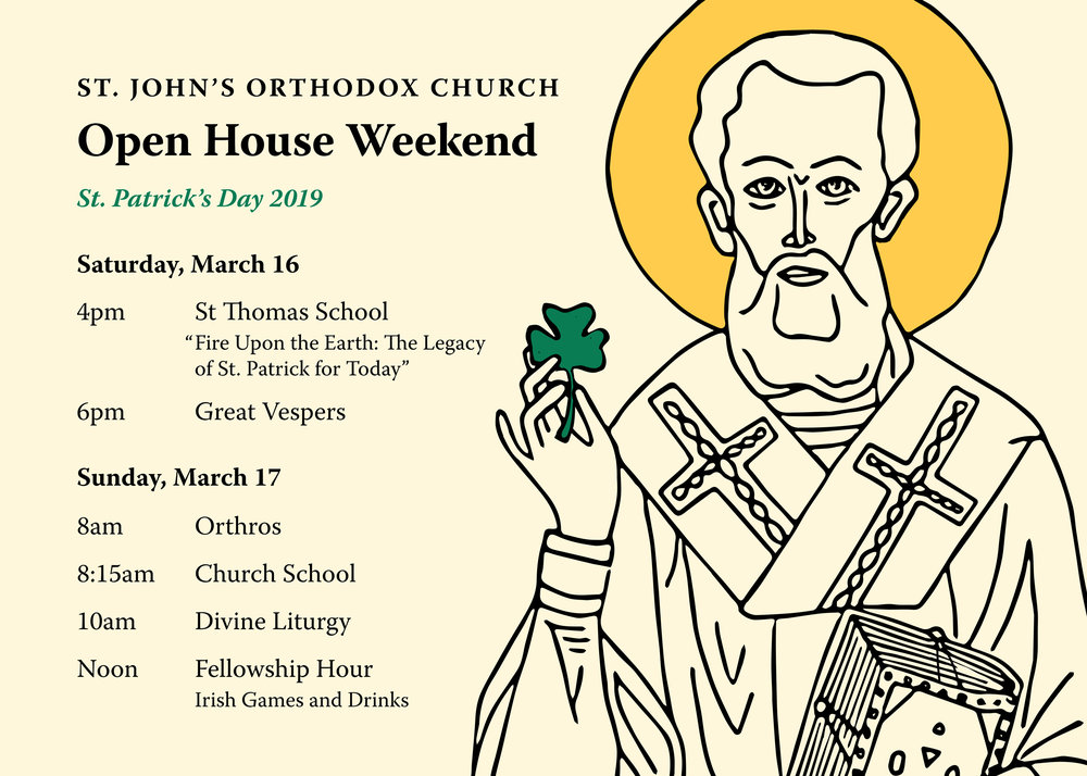 Upcoming Events — St  John Orthodox Church