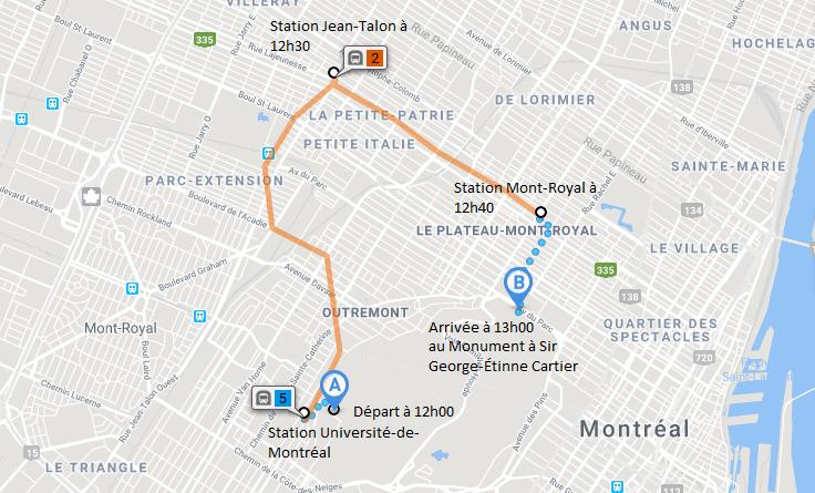 Trajet pour aller en métro à la manifestation. À partir de la station Université de Montréal. Arrivé prévu vers 12h50