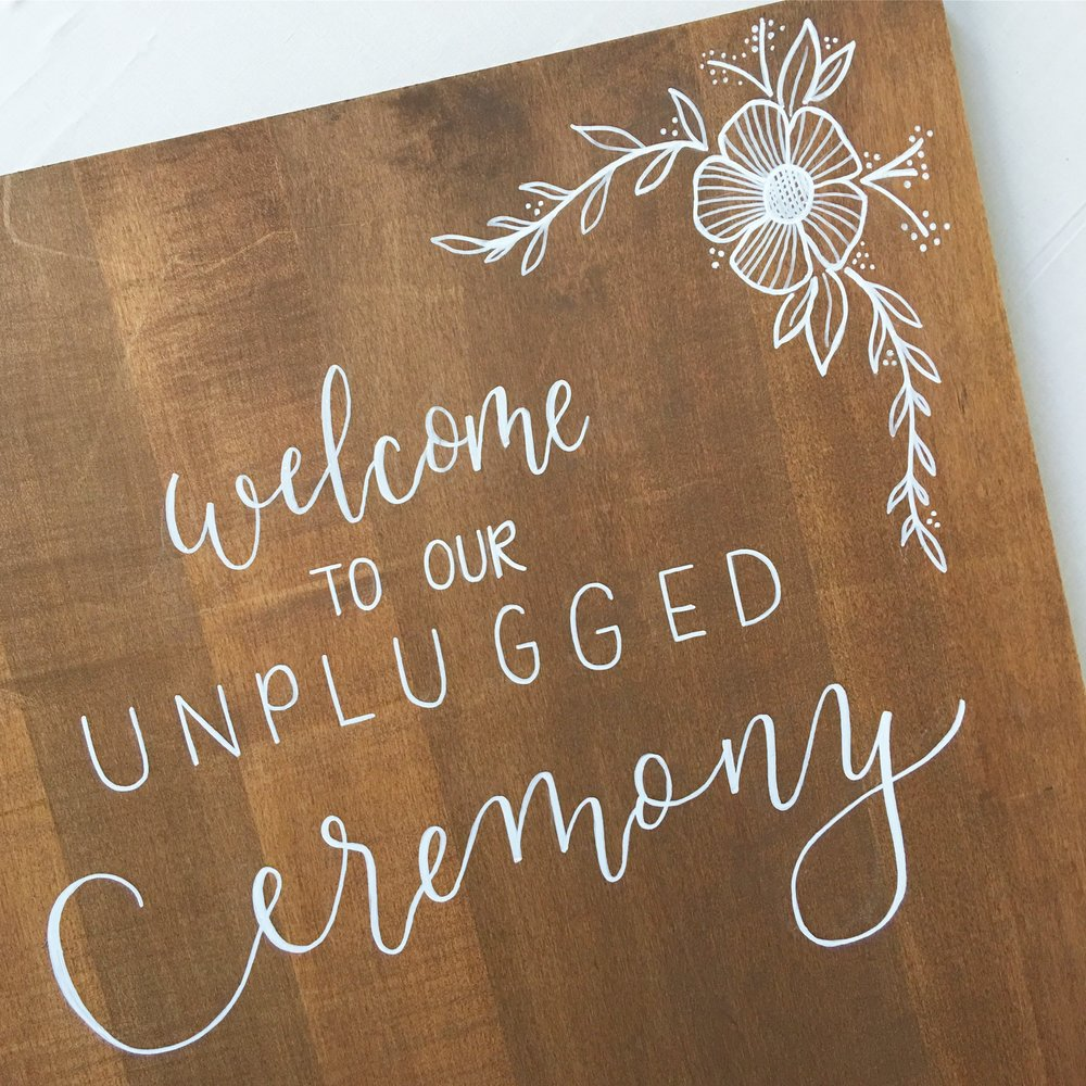 Calligraphy Wood Wedding Sign
