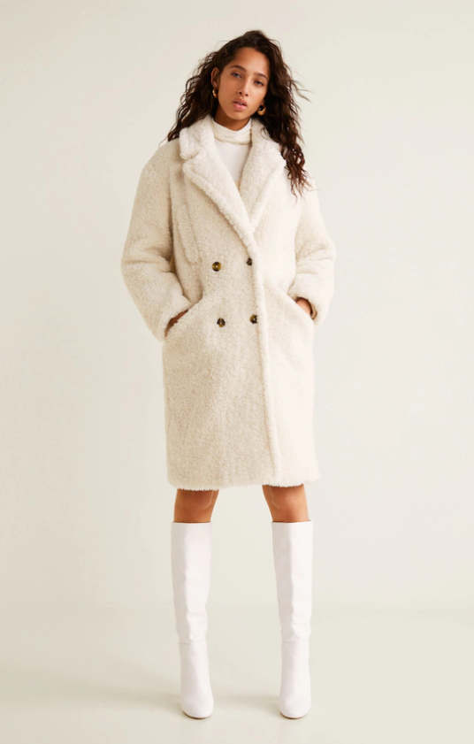 Here for textures. This fuzzy shearling is fun. Over a dress, over jeans, boots or sneakers.