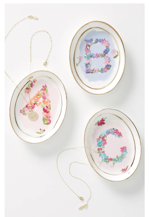 What a cute and thoughtful idea. A  monogram dish  to put all her little trinkets. A whopping $14