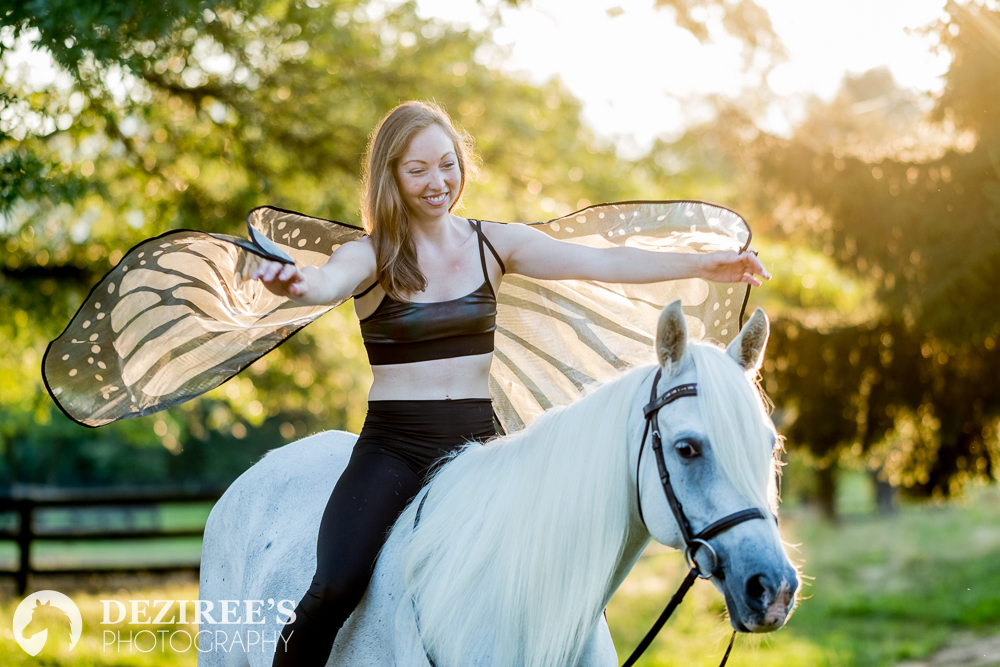 Angela is a avid horsewoman, a yoga instructor, and does horseback yoga, so these wings fit perfectly with her magical personality!