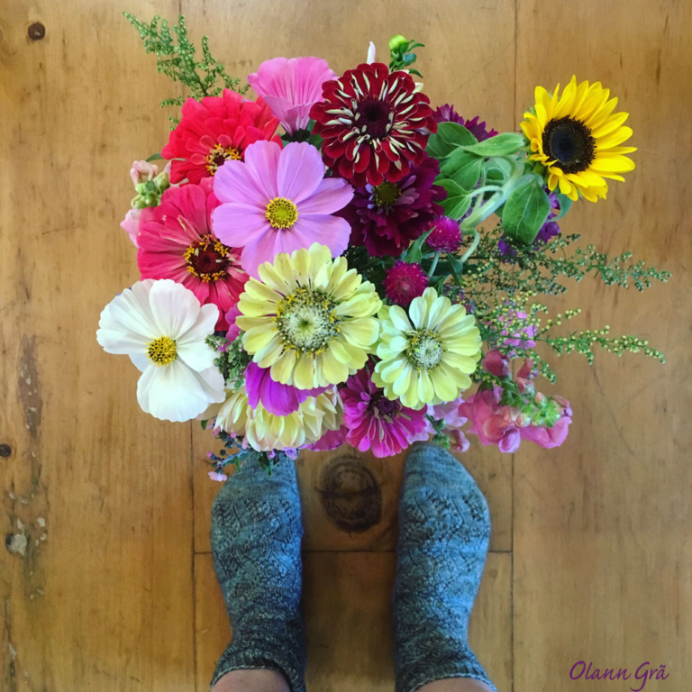 Hand knit socks and Farmers Market flowers