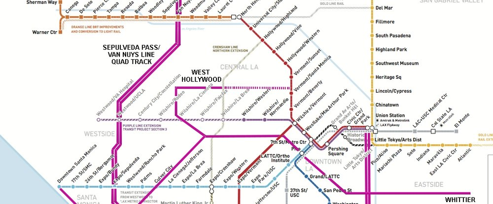 With HyRail, West Hollywood can have BOTH the Crenshaw line on its eastern border along La Brea, AND a HyRail line along Santa Monica/San Vicente with direct access to DTLA and/or Venice Beach
