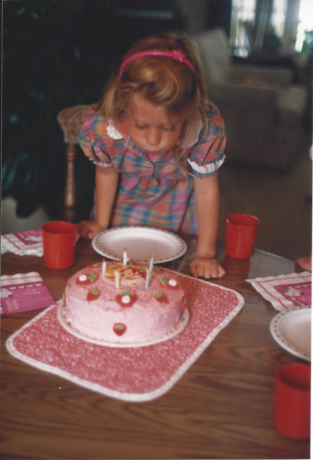Turning five with Strawberry Shortcake. I would still wear this. And still forget to brush my hair.