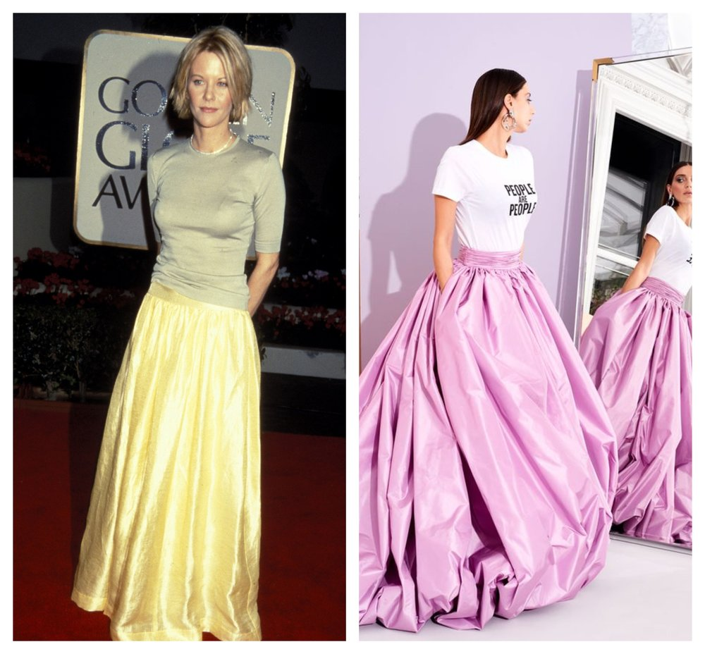 Christian Siriano's tee-and-pink skirt is also giving me  Bianca's-prom-dress vibes . Not a bad thing.