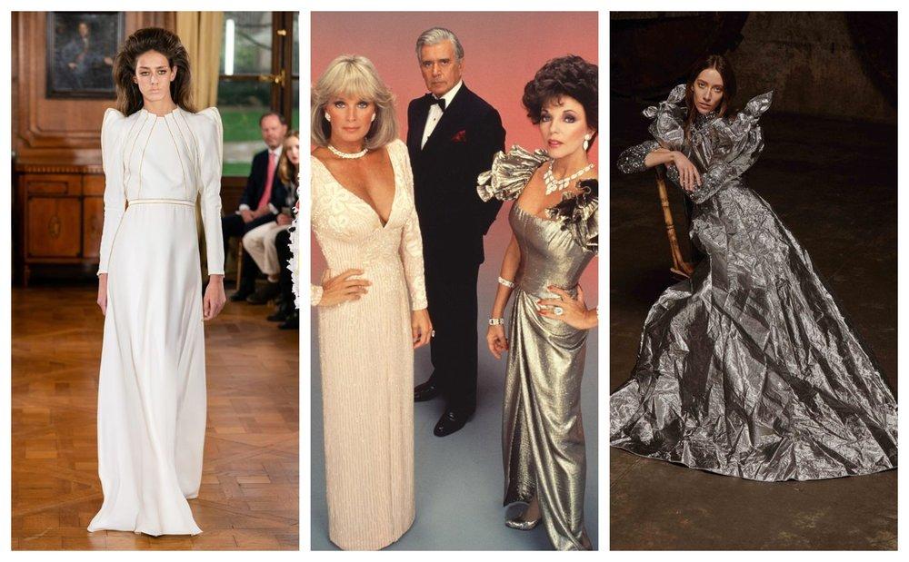 White dress: Roland van der Kemp. Metallic dress: Greta Constantine. (Canadian fashion!)