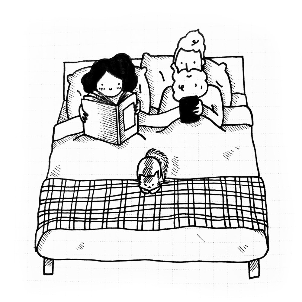 Reading in bed together