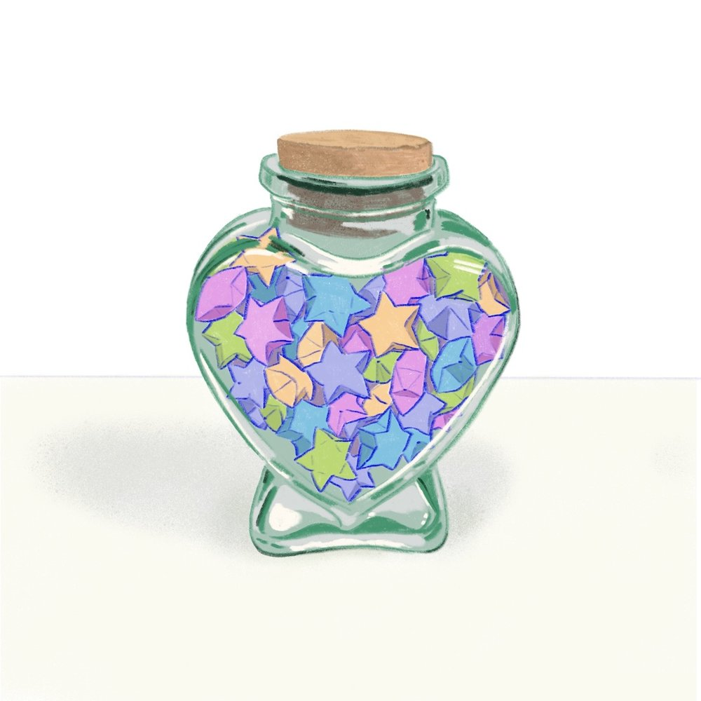 Friendship jars full of lucky-stars, made of paper strips folded by small hands. These were a thing of pride for both the gifter and receiver—and often displayed on bedroom shelves or in the family dining room behind glass cabinets.