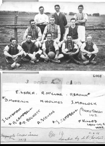 Irymple FC 1913 (note the asterisks next to the names of those killed in action). Mildura and District Historical Society -