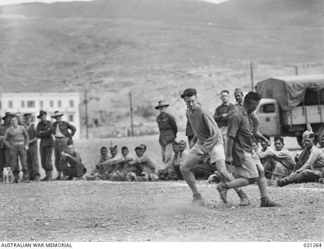 BAALBEK, SYRIA. 1941-11-01. A SCENE DURING THE SOCCER MATCH BETWEEN AUSTRALIAN AND INDIAN TEAMS. ... -
