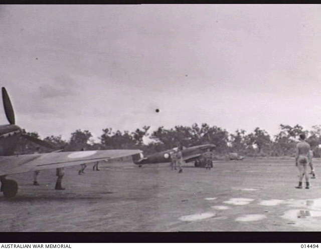 1943-03-24. DARWIN. R.A.F. SPITFIRE SQUADRONS AT DARWIN. GROUND CREWS PLAY SOCCER. -