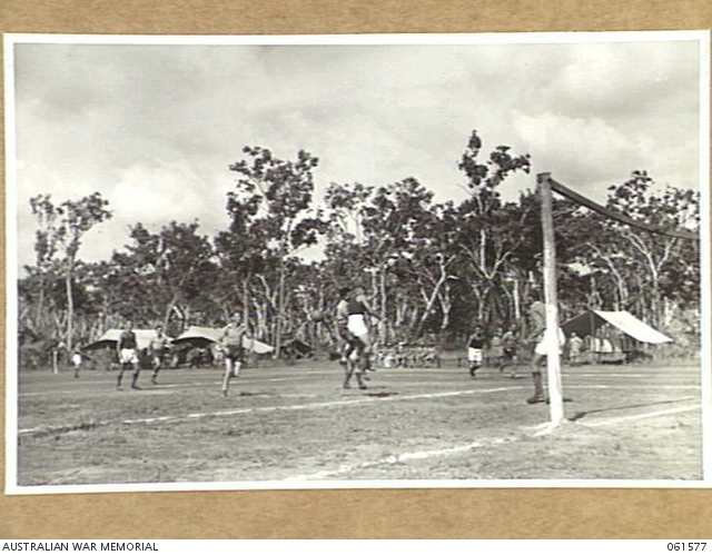 NOONAMAH, NT. 1943-12-11. SOCCER MATCH IN PROGRESS DURING THE NORTHERN TERRITORY CHRISTMAS SPORTS CARNIVAL. -