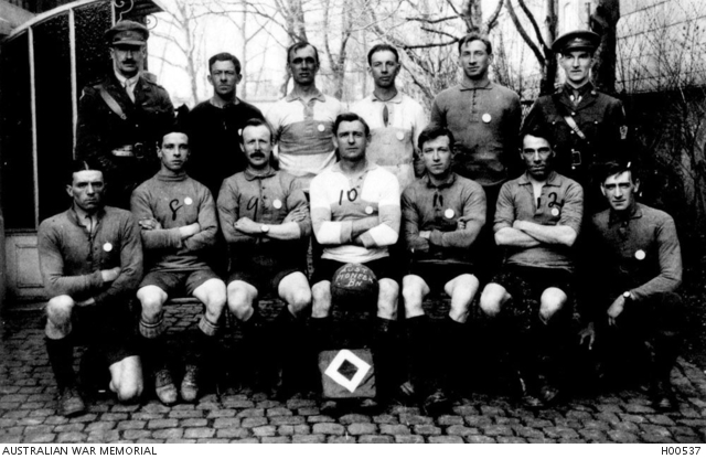 - Outdoor group portrait of the 2nd Australian Pioneer Battalion Soccer Football Team, winners of the Brigade Group Medal Competition. Identified in the back row from left to right: Lieutenant Colonel Frederick William Gadsby Annand DSO, VD and Bar from Brisbane, Queensland, the Commanding Officer of the Battalion; 3457 Private (Pte) Edward John Bannon from North Fitzroy, Victoria; 3577 Pte William Harvey Morrison from South Brisbane; 2228 Pte Charles Frederick Thompson from Seddon, Victoria; 3369 Driver John Francis Kelly from Warragul, Victoria (later promoted to Corporal); and Major David Sherris, Chaplain from Launceston, Tasmania.Front row from left to right: 2577 Pte George Henry Barnes from Leongatha, Victoria; 3534 Pte Frederick Glasse from Melbourne, Victoria; 3585 Pte Arthur Joseph Lucas from Colac, Victoria; 1805 Sergeant Wilfred Wakely from Mirboo North, Gippsland, Victoria; 5892 Pte Ernest Edgar Best from Fremantle, Western Australia; 3604 Pte Walter Crash Overson from Brisbane; and 3361 Pte Frederick Alfred Hooker from Ballarat, Victoria.