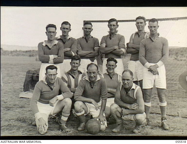 Northern Territory. 1943-08-16. The soccer team formed from the 2/142nd Australian General Transport Company, No 11 Lines of Communication, Sub Area, AIF. -