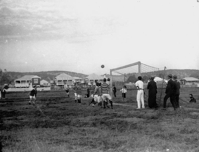 Shot for goal in a soccer match, Brisbane, ca. 1914 (at the ground now known as Memorial Park, Bulimba) - (StateLibQld)
