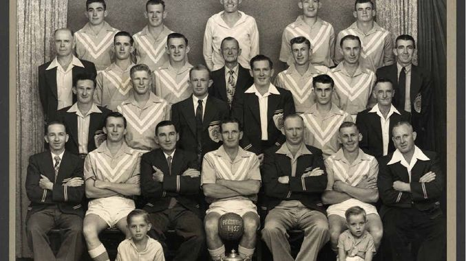 "- A photo of the 1955 premiership-winning Bundamba Rangers side which has historic importance. Among the players were Col and Keith Kitching and Ray Rule, Former Australian player George ""Fat'' Kitching was manager of the 1955 team and his son George was mascot. Young George's brother Wally Kitching was the ball boy. Mascot George later became father of another Australian player, Belinda Kitching. Other greats in the successful side included Spencer Kitching, Bob Lawrie, Norm Rule and Graham Kathage."
