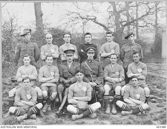 Group portrait of unidentified members of No 1 Command Depot, Sutton Veny, Soccer Football Team, who were the 1918 Premiers. Lieutenant Colonel W O Mansbridge DSO, 44th Battalion is seated in centre of second row. -