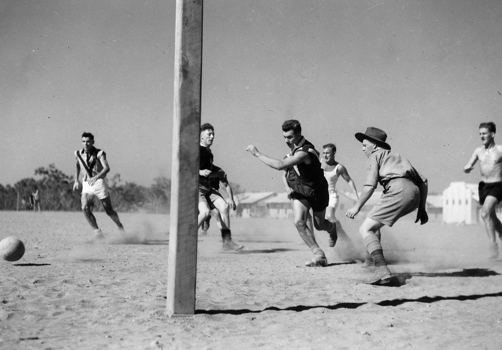 A.I.F. at Darwin Sat [i.e. Saturday] afternoon soccer Signals V Navy1943 - State Library of Victoria