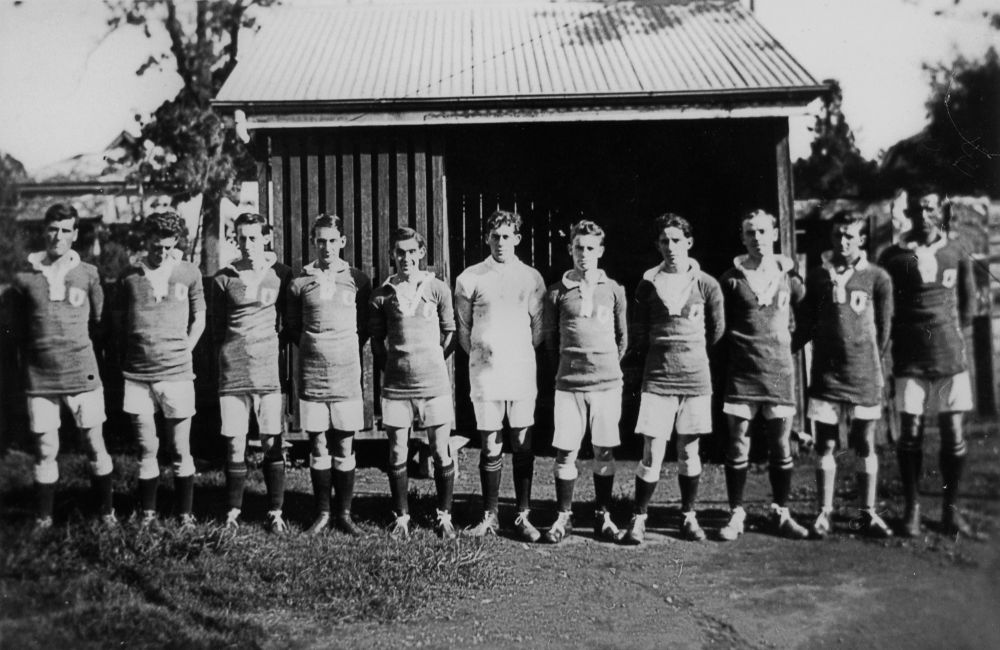 Pineapple Rovers Soccer Club, Kangaroo Point, ca. 1924 - Brisbane John Oxley Library, State Library of Queensland