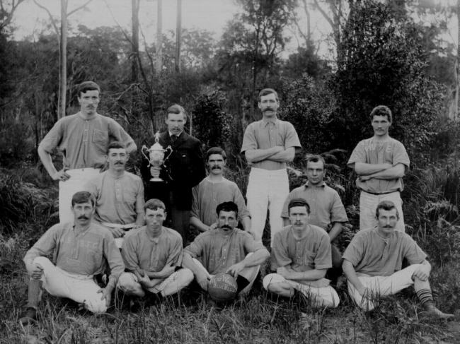 West Wallsend Bluebells soccer team with Cup-1898- - (TROVE)