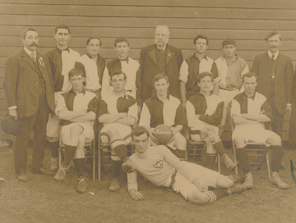 Granville and District Football Club, 1912. John Nobbs' distinctive figure at the centre of the top row. The goal-keeper laying on the ground is Eric Mobbs, who later became Mayor of Dundas and Parramatta. Parramatta Heritage Centre, Granville and District Football Association Collection - Parramatta Heritage Centre)