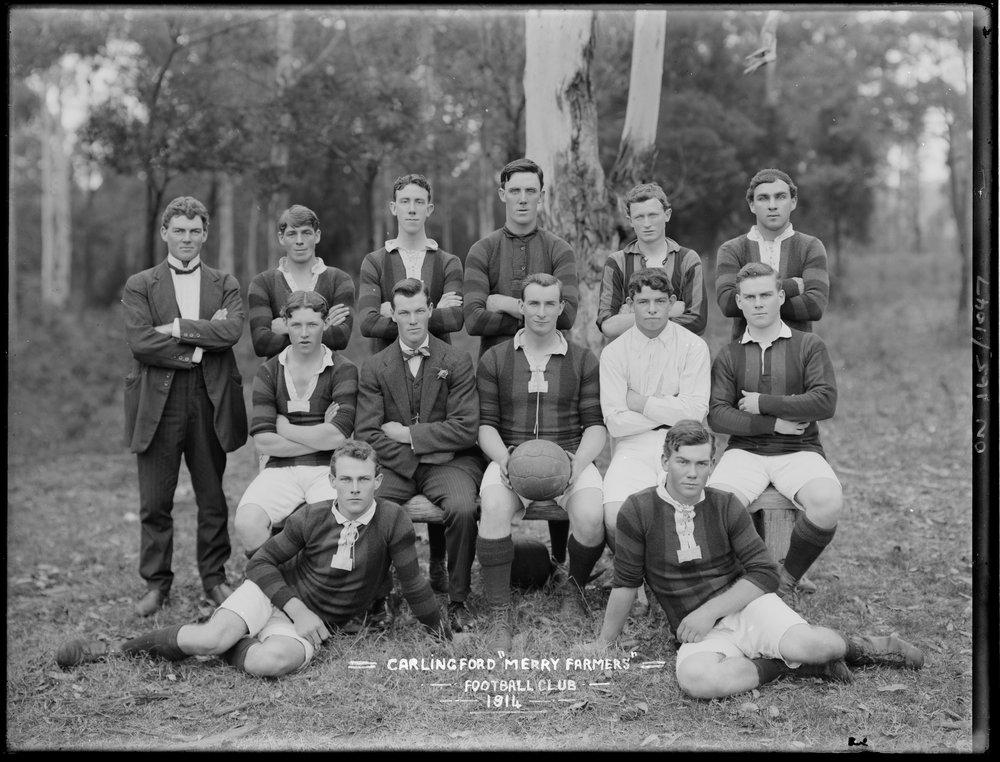 Carlingford `Merry Farmers' Football Club, 1914 - (TROVE)