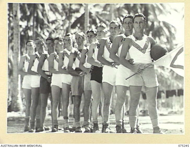 - MILILAT, NEW GUINEA. 1944-08-13. MEMBERS OF A SOCCER TEAM FROM HEADQUARTERS, 5TH DIVISION SIGNALS WHO ARE PLAYING A MATCH AGAINST A TEAM FROM HEADQUARTERS, 5TH DIVISION. IDENTIFIED PERSONNEL ARE:- QX36085 CORPORAL N.F. MCCRYSTAL (1); NX99684 SERGEANT L.J. CARDELL (2); QX50010 SIGNALLER J. CLARKSON (3); QX51276 CORPORAL P.C. STEPHENSON (4); QX49393 LANCE-SERGEANT G.D. DANIEL (5); QX55029 PRIVATE J.D WARD (6); QX44993 SIGNALLER C.G. WEDD (7); QX42442 SERGEANT L.C. SAUNDERS (8); QX45383 SIGNALLER H.D. REAL (9); QX52285 SIGNALLER K. ABERCROMBIE (10); QX64184 SIGNALLER E.H. CATTON (11).