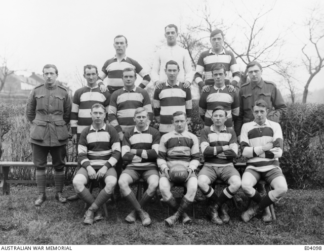 An outdoors group portrait of unidentified members of the Soccer Football team of the 1st Australian Pioneer Battalion. - Belgium: Wallonie, Namur, AiseauFirst World War, 1914-1918