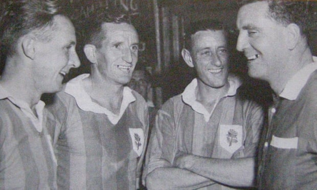 Four stars of Australian football in the 1950s, Gordon 'Bunny' Nunn, Bob Lawrie, Alan Johns and Reg Date. All four represented Australia. - Photograph: Jack Pollard's Soccer Records