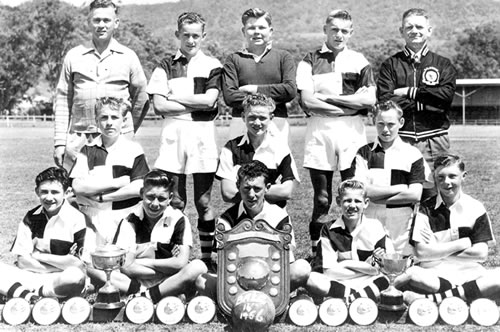 1956- Balgownie Rangers-grade unknown - Back Row: Jack Screen (Man.), Peter Chapman, Thomas Rankin, Robert Rankin, Samuel Ward (Coach)2nd Row: Alex Caschenko, Graham Kelly, John KirkpatrickFront Row: Richard Bell, D. Kello, Jack Screen, Douglas Davison, Ronald Morgan