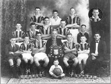 Blackstone Rovers, winners of Juvenile Premiership and Round Shield, Ipswich, 1933 - Blackstone Rovers Soccer Club began in 1890 with the growth of community life from the local mines. Back row- E. Jones, H. Jackson, G. Trevis. Second row- J. Hughes, F. Woolley, F. Watson, L. Williams, J. Evans. Front row- J. Parsons, M. Tapp, R. JOhnstone (Captain), F. Parsons (Patron), T. Pennell (Vice-Captain), H. Ramsay, B. Dobbie (Secretary) Jack Dobbie (Mascot). Inset- F. Reeks(Ipswich Libraries)