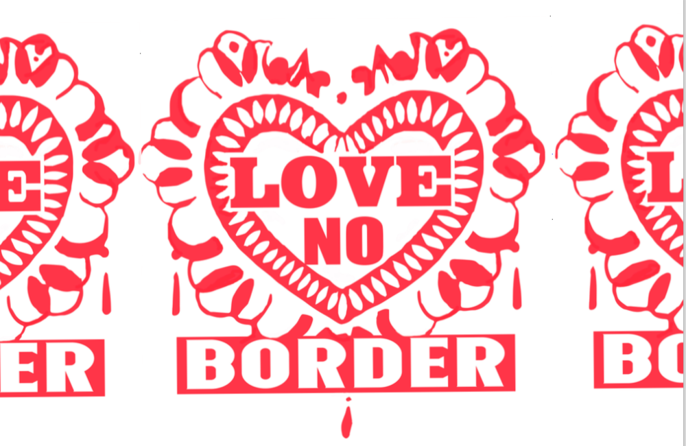"""- Love No Border is a specially composed song by the Stop Shopping Choir and was recorded in New York City the week before the TO YOU TO YOU TO YOU events in 2018 and accompanies an invitation to assemble and sing together. Recording and titles: Killian Sundermann. Lyrics: Savitri D. Song: Traditional """"Berta Berta."""" Singers: Francisca Benitez, Gregory Corbino, David Yap, Killian Sundermann. Reverend Billy and the Stop Shopping Choir is a New York City based radical performance community, with 50 performing members and a congregation in the thousands. We are wild anti-consumerist gospel shouters and Earth loving urban activists who have worked with communities on four continents defending community, life and imagination and resisting Consumerism and Militarism. Our activist performance and concert stage performance have always worked in parallel. The activism is content for the play. Our Director for both kinds of performances is Savitri D. Image: Love No Border song sheet 2018. www.revbilly.com"""