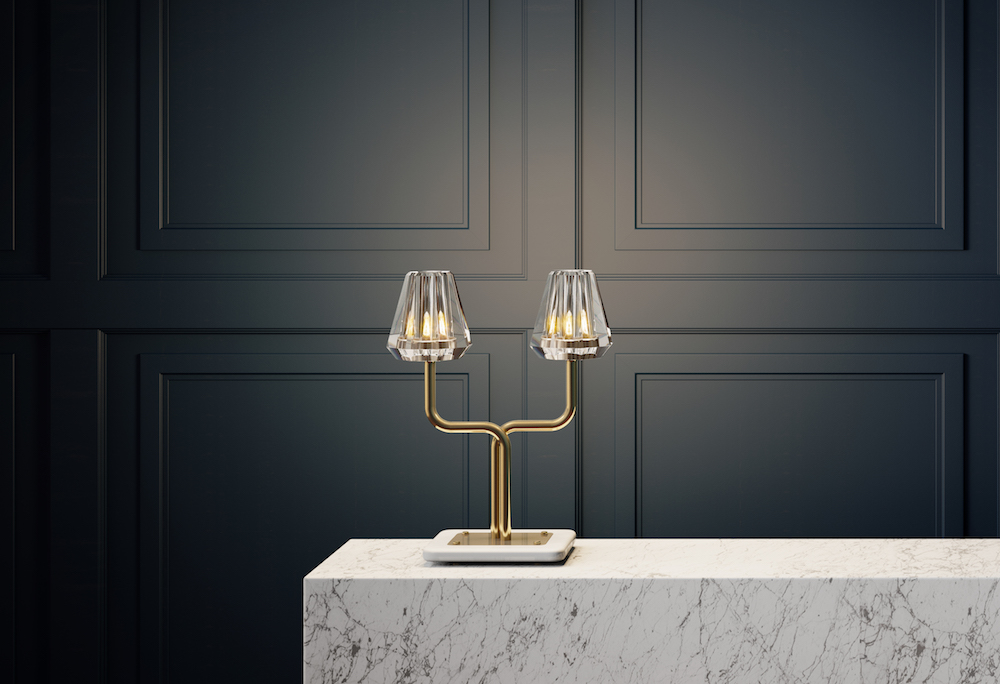 The  Aquiline Twin Stem Table Lamp  showcases stunning material finishes and provides the perfect hallway glow.