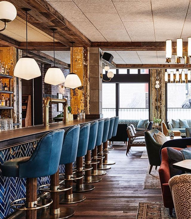 We're hoping someone is whisking us away to  @thehoxtonhotel Portland for New Year's Eve. Just look at that bar setup! 😍 ・・・ #InspiringInteriors #InteriorDesign #customdesign #luxurydesign