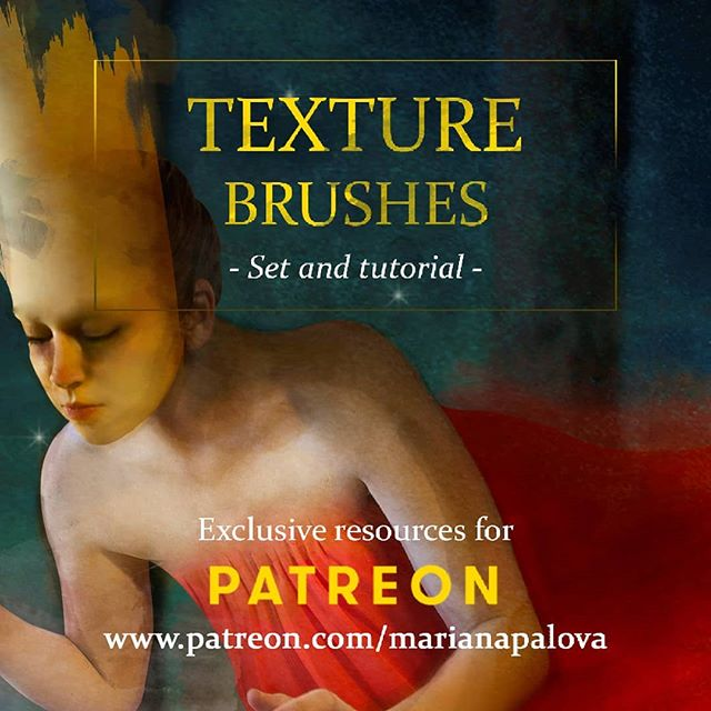 New on my #Patreon! Set and tutorial of texture #brushes! Check it out and become a Patron (link in bio) to get exclusive access to my creative process ;) #marianapalova #art #digitalart #digitalpainting #arttutorial #photoshopbrushes #photoshop #photomanipulation