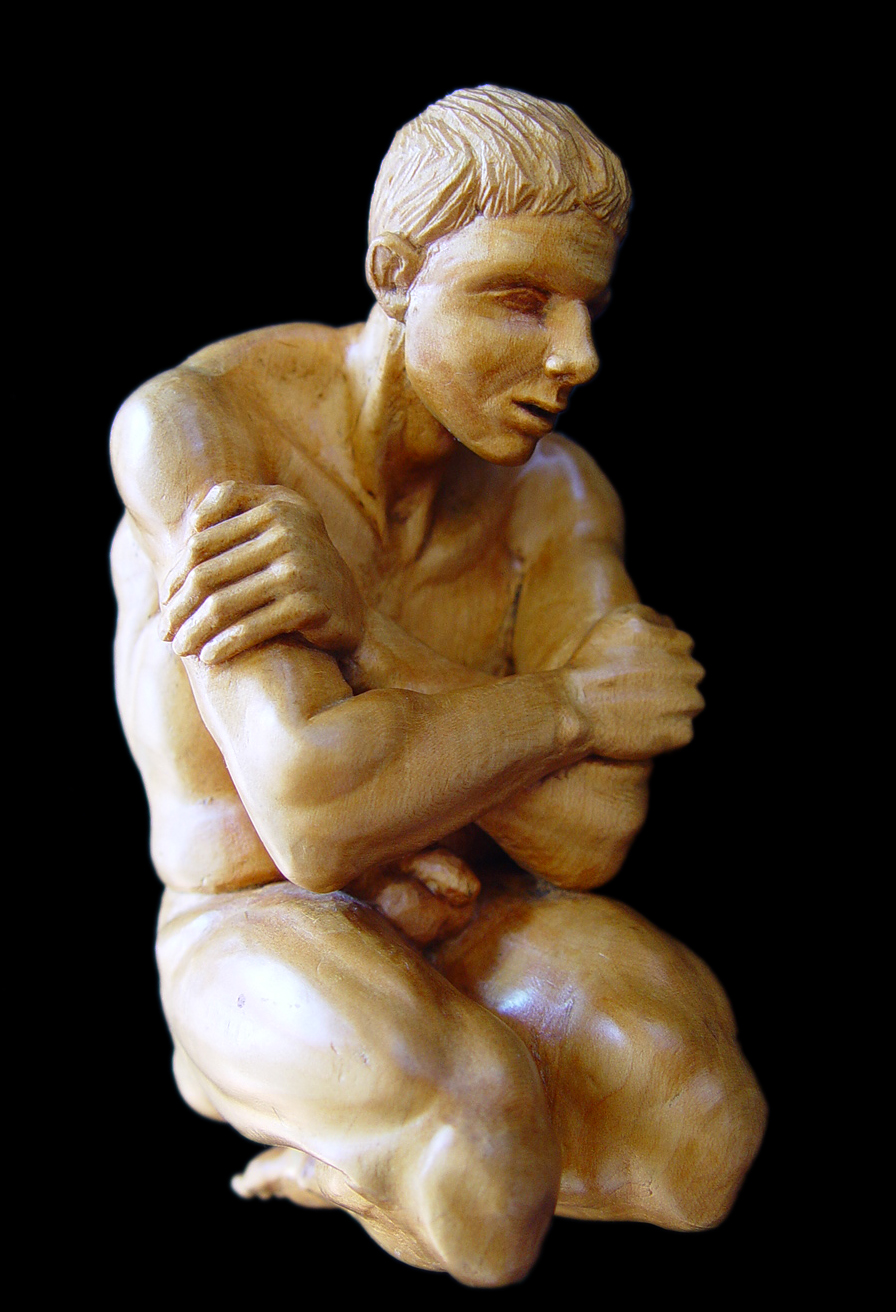 "Kneeling study, 5"" tall Basswood."