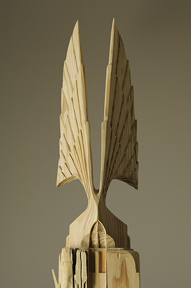 "Wings, reclaimed pine, 16"" tall. Collaborative piece with Yoav Liberman."