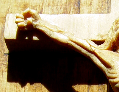 Crucifix, detail, limewood.