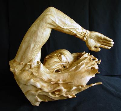 swimmer in progress sculpture eight