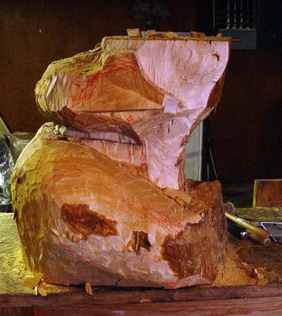king sculpture in progress 3