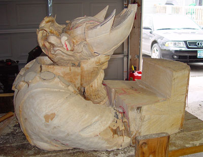 king sculpture in progress seven