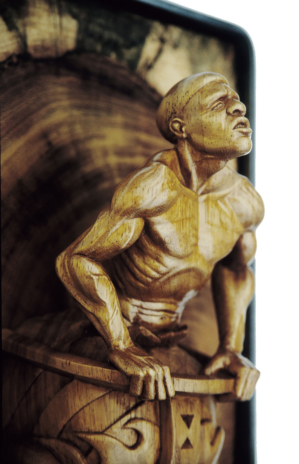 "Figurehead, 8"" tall, Iroko wood. Owned by the Mariner's Museum, Newport News, VA."