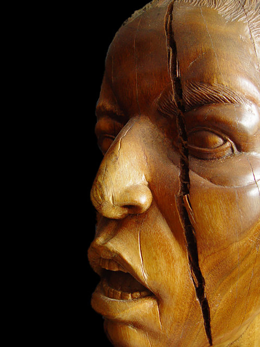 "Woman in a Crowd (detail), Eucalyptus, 18"" tall."